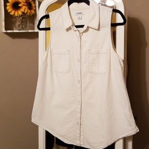 Old Navy Off-White Button Down Tank Top | SIZE M